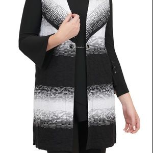 Women TanJay Black and White Open Vest size L